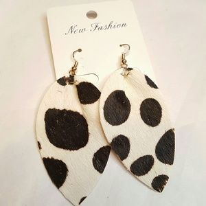 Cow Print Leather Earrings 2/$25